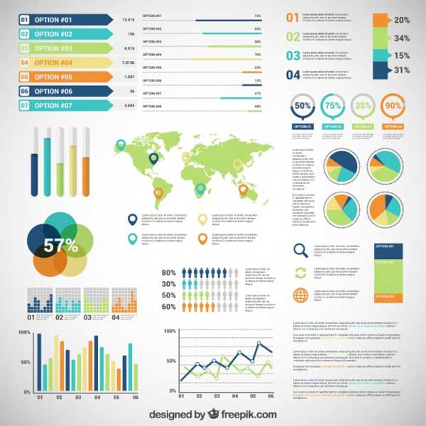 Infographic Template Kits in Editable Vector, PSD Format