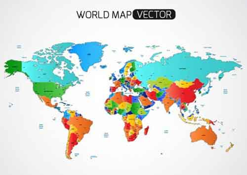 World Map With Country Labels.Vector World Map Files For Free Download
