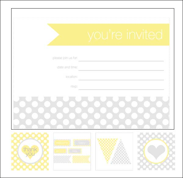 photo regarding Printable Pottery Templates named Shower Invitation Playing cards: 35 Sets of Printable Templates in direction of
