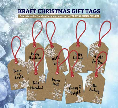 picture about Printable Kraft Tags identified as Printable Xmas Reward Tags Giving Kraft Paper Texture