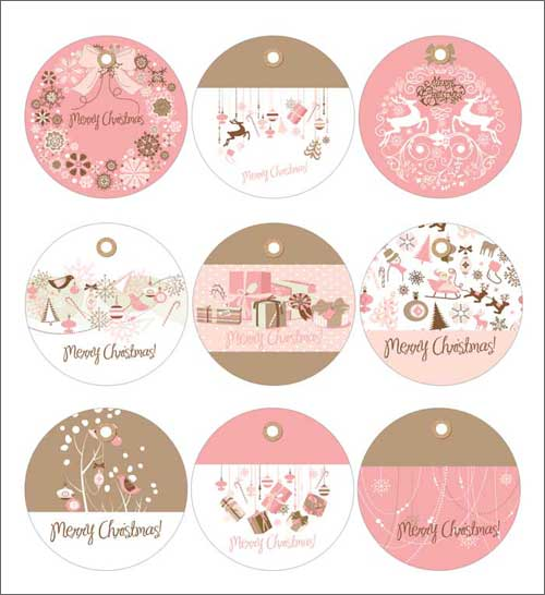 Free Printable Christmas Gift Tags in Pink and Blue