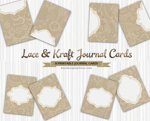 graphic relating to Free Printable Journal Cards named Cost-free Journaling Playing cards within just Lace and Kraft Brown Style