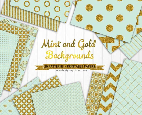Mint Green Background Patterns With Gold Accents