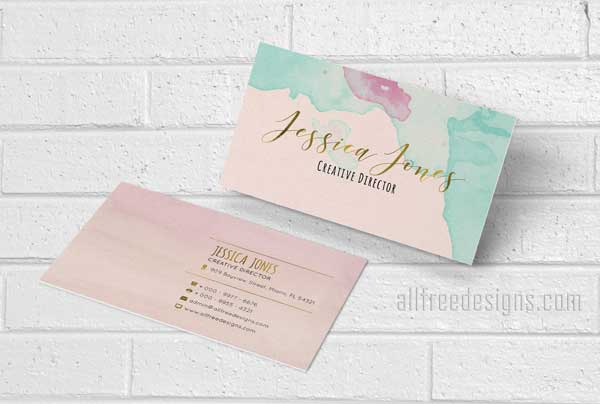 watercolor business cards 4 new designs featuring gold accents