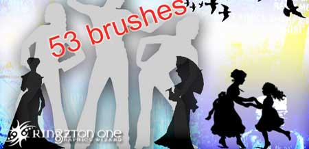 People Photoshop Brushes: 30 Sets of Silhouette Graphics