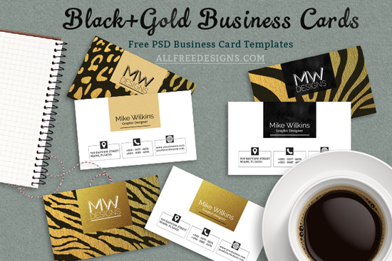 Business card psd templates in black and gold jungle theme business card psd templates wajeb Choice Image