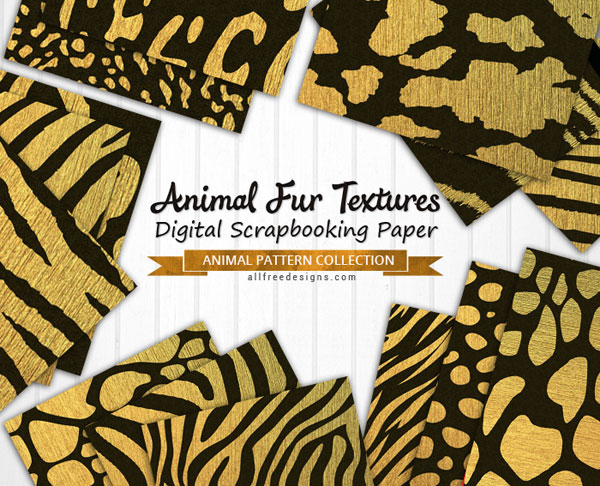 graphic regarding Printable Textures named Animal Fur Textures: 17 Printable Papers within Black and Gold