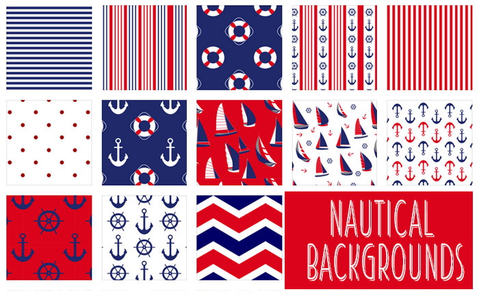 nautical backgrounds  14 free patterns in red  blue  and white