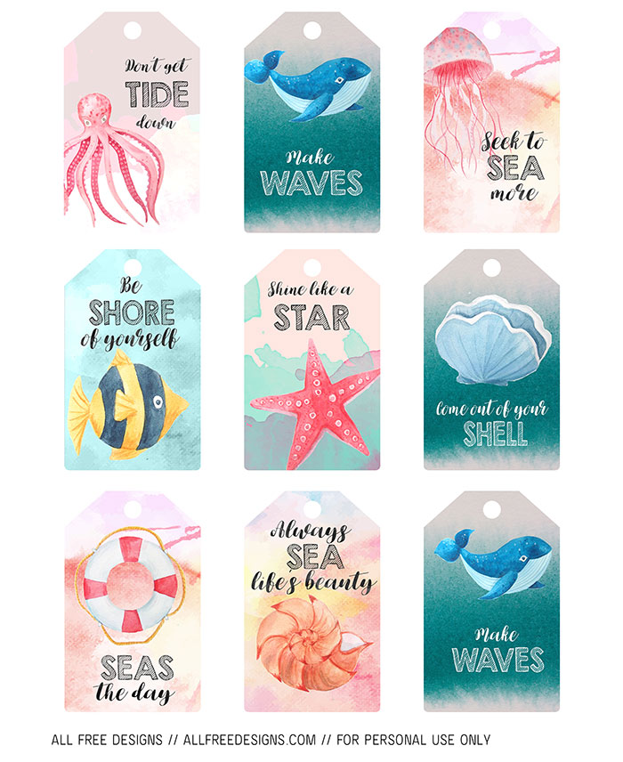 Summer Post Card and Printable Tag Designs to Download Free