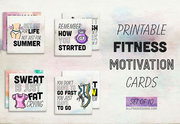 photograph regarding Printable Workout Cards named Health and fitness Determination Playing cards: 10 Printable Reminders in the direction of Maintain Oneself