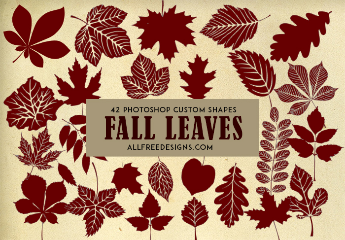 Fall Leaves Silhouettes: 42 Photoshop Custom Shapes
