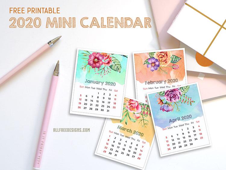 printable mini calendar preview